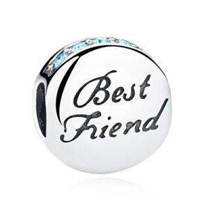 925 Sterling Silver Best Friend Heart BFF Charm Beads Heart Friendship Bead Charms Fit European Bracelets