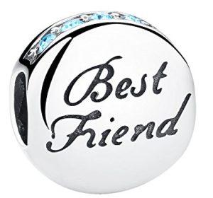 925 Sterling Silver Best Friend Heart BFF Charm Beads Heart Friendship Bead Charms Fit European Bracelets