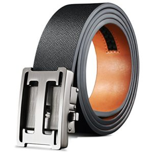 H Belts for Men Genuine Leather Ratchet Dress Belt Slidding Buckle Regular Big and Tall Sizes