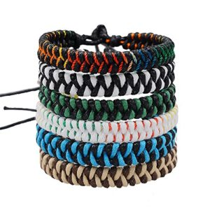 Handmade Braided Woven Friendship Bracelets-Jeka Fashion 6Pcs Bulk for Men Women Wrist Ankle Cool Gift