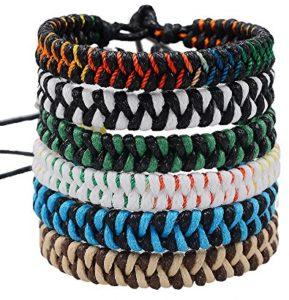 Handmade Braided Woven Friendship Bracelets-Jeka Fashion 6Pcs Bulk for Men Women Wrist Ankle Cool Gift