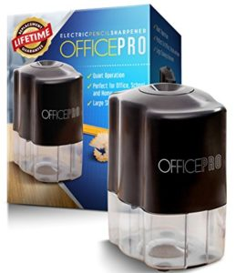 OfficePro Electric Pencil Sharpener - Helical Steel Blade Sharpens All Pencils Including Color, Auto-Stop Feature, Ultra-Portable - Batteries Included