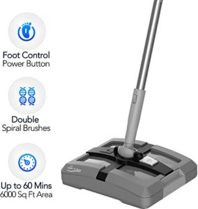 Electric Floor Sweeper- Rechargeable Cordless Floor Sweeper w/ Ergonomic Handle & Double Powerful Brushes