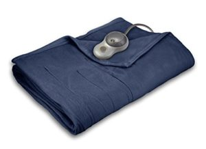 Sunbeam Quilted Fleece Heated Blanket with EasySet Pro Controller, Full, Newport Blue