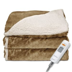 Sunbeam Reversible Sherpa/RoyalMink Heated Throw Blanket with EliteStyle II Controller, Honey,