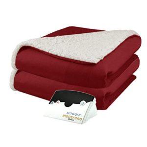 Biddeford 6001-9051136-300 Micro Mink and Sherpa Heated Blanket Full Brick