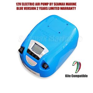Seamax Blue Portable Digital Control 12V Electric Air Pump 1 to 8.5 PSI for Inflatable Boat, Inflatable Kayak and More (No Battery)