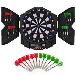 Best Choice Products Electronic Dartboard Sport Game Set w/Cabinet, 12 Darts, LCD Display - Multicolor