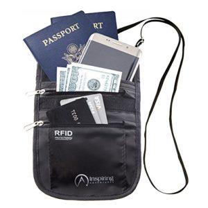 Inspiring Adventures Neck Wallet RFID Blocking Water Resistant Passport Holder, Hidden Travel Pouch