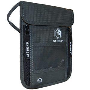 VENTURE 4TH Travel Neck Pouch Neck Wallet with RFID Blocking Passport Holder