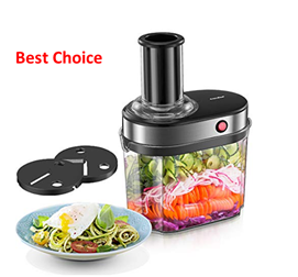 Comfee Electric Spiralizer with 2 Blades and a 4 Liter Container Suitable for Zucchini Noodles, Vegetable Salad, Curly Fries, Apple Tarts & More