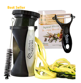 Spiral Slicer Spiralizer Complete Bundle - Best Vegetable Spiralizer and Cutter - Zucchini Pasta Noodle Spaghetti Maker