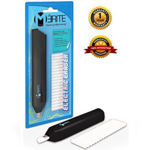 Premium Electric Eraser Kit with Eraser Refill Pack by Merite - Battery Operable - Includes 20 Refill Erasers